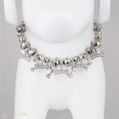 Bone Collector Silver crystal beads with silver bone dangles and rhinestone bone dangles and silver bones size  1