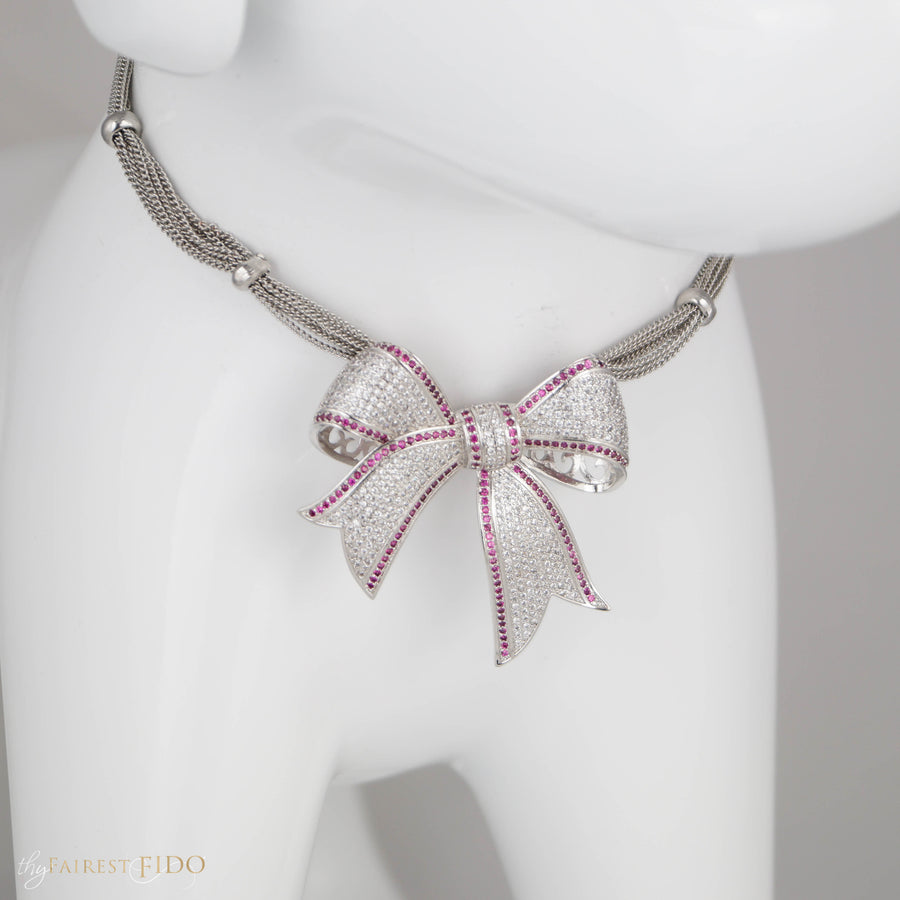 Bowknot Pendant micro-pave, cubic zirconia AAA with blue accent cz on silver gathered chains