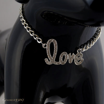 Chained To Love Pendant Rhinestone script word LOVE on silver chain AAA