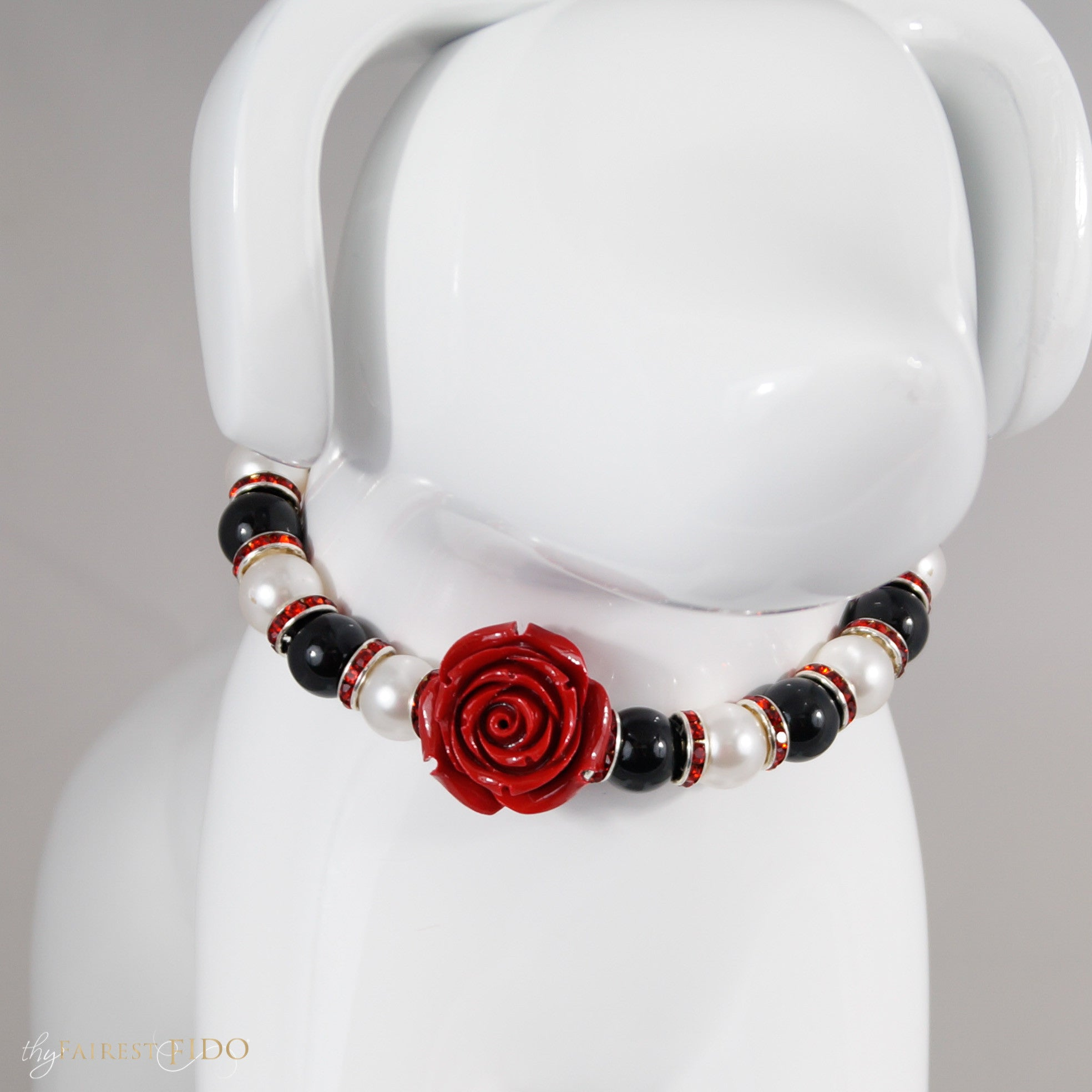 Classic Beauty black and white Swarovski pearl necklace with red rhinestones and red focal flower, size 1