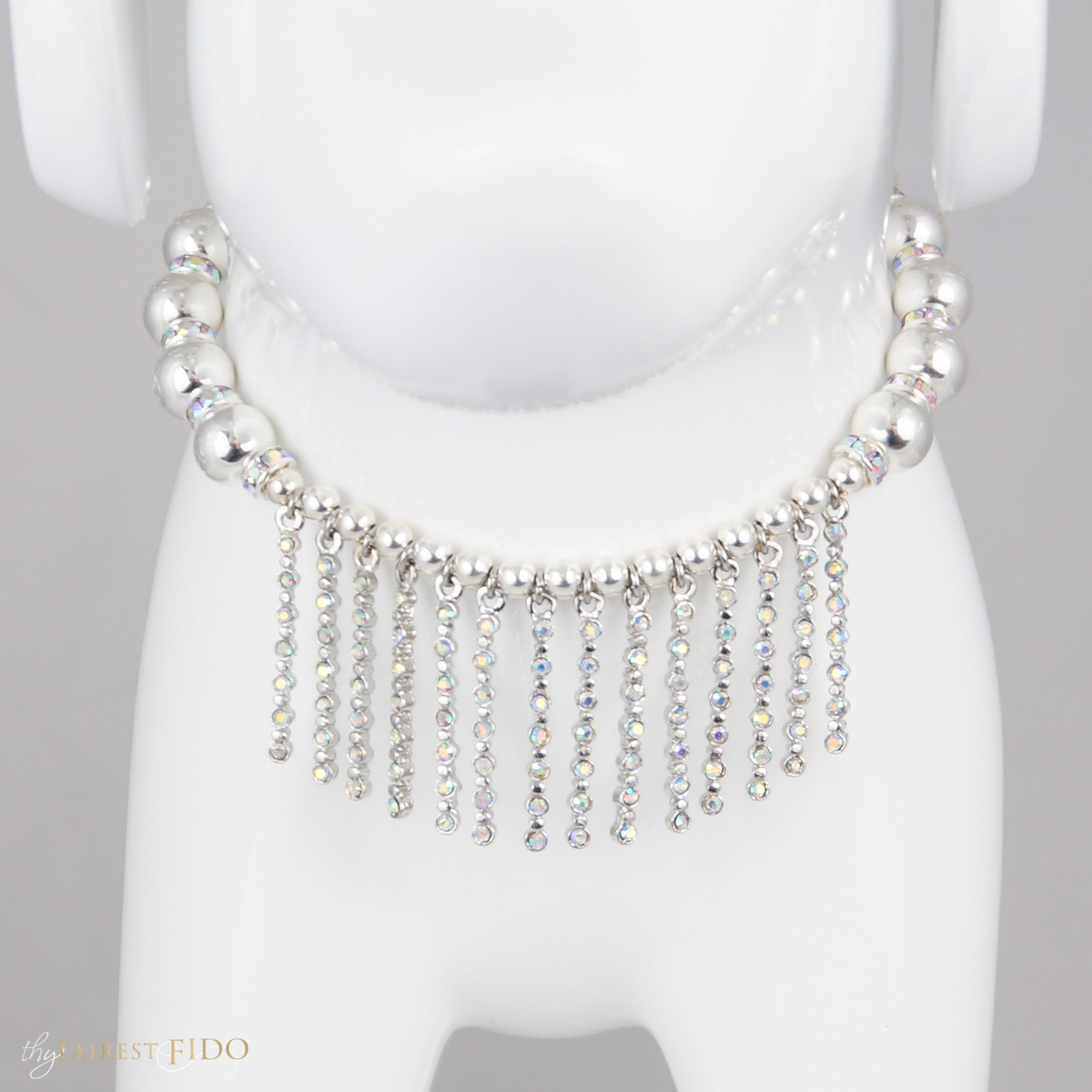 Fairytale Fringe, AB crystal sticks bibb necklace with signature silver metal beads, width 2