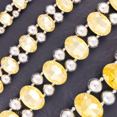 Eternal_Gems_Two_row_woven_yellow_glass_crystals_with_signature_silver_beads_all_sizes_1_2_3_Thy_Fairest_Fido