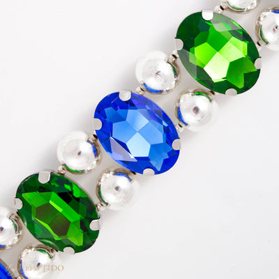 Eternal_Gems_Two_row_woven_emerald_blue_glass_crystals_with_signature_silver_beads_size_3_Thy_Fairest_Fido