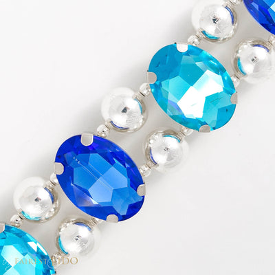 Eternal Gems, Two row woven aqua and royal blue glass crystals with signature silver beads size 3