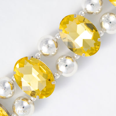 Eternal_Gems_Two_row_woven_yellow_glass_crystals_with_signature_silver_beads_size_3_Thy_Fairest_Fido