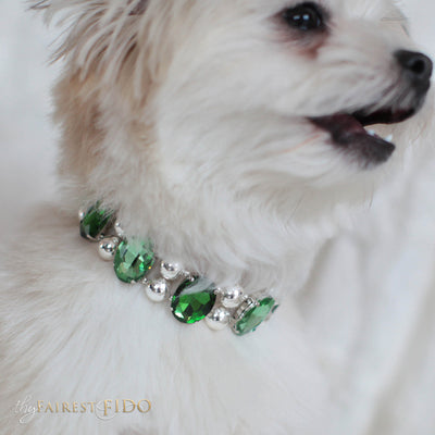 Eternal_Gems_Two_row_woven_emerald_peridot_glass_crystals_with_signature_silver_beads_size_1_Thy_Fairest_Fido_on_joe_louis_a_maltipom_dog