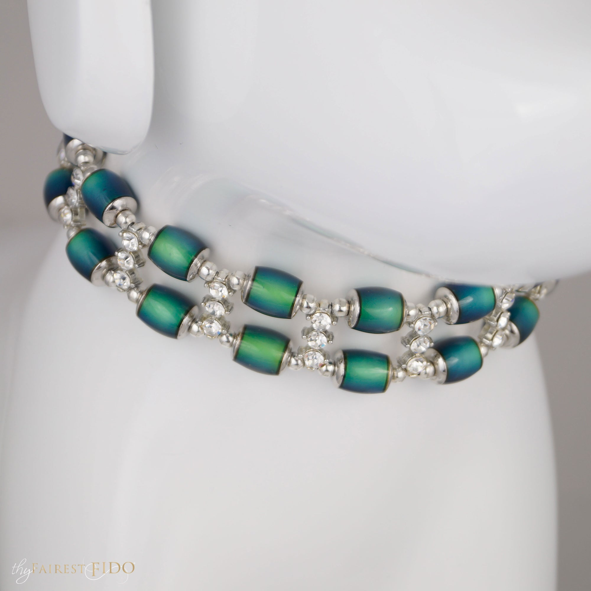 Moodier Pooch, Two Rows of color changing gold, green, aqua and blue beads with rhinestone spacer bars AAA