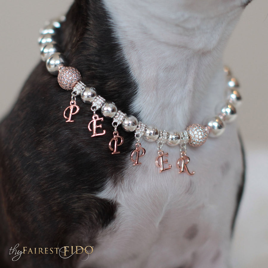 Rose Gold Royalty, Signature silver beads with rose gold metal dangles to personalize with dogs name