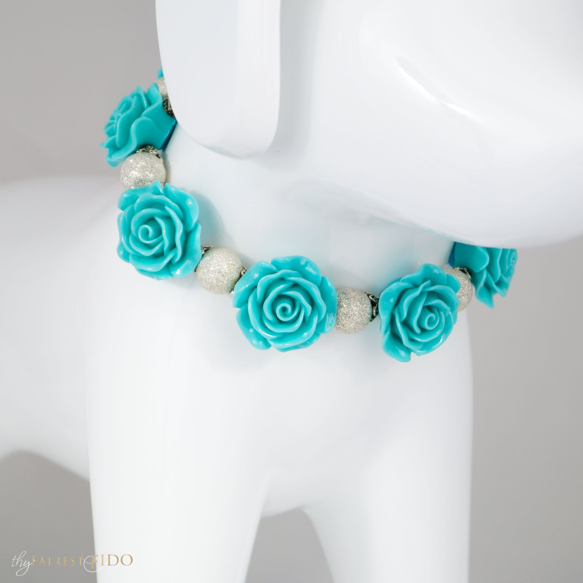 Secret Garden, Resin teal flowers with silver stardust beads