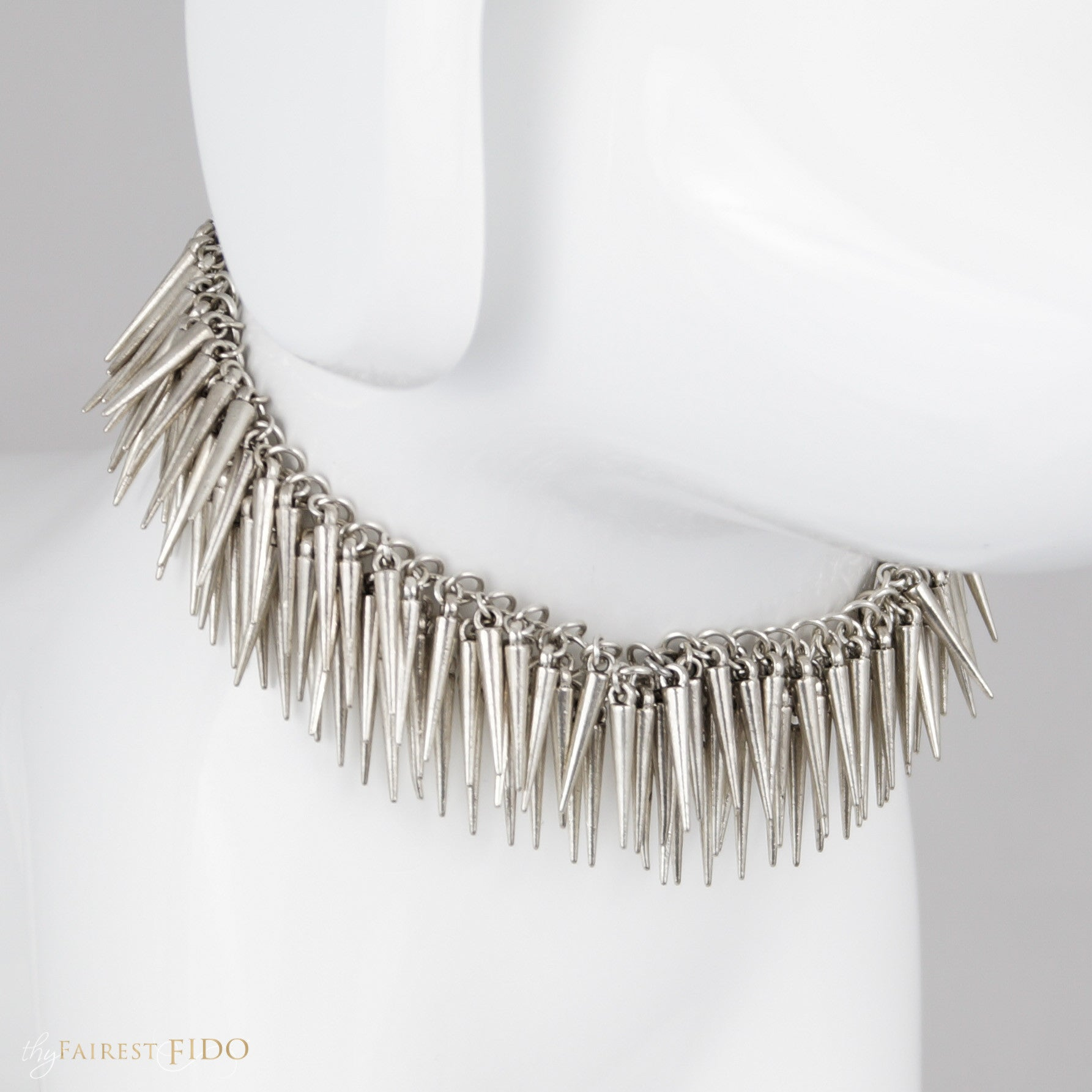 Stella's Spikes, Alloy spike dangles multi layered on silver weave chain