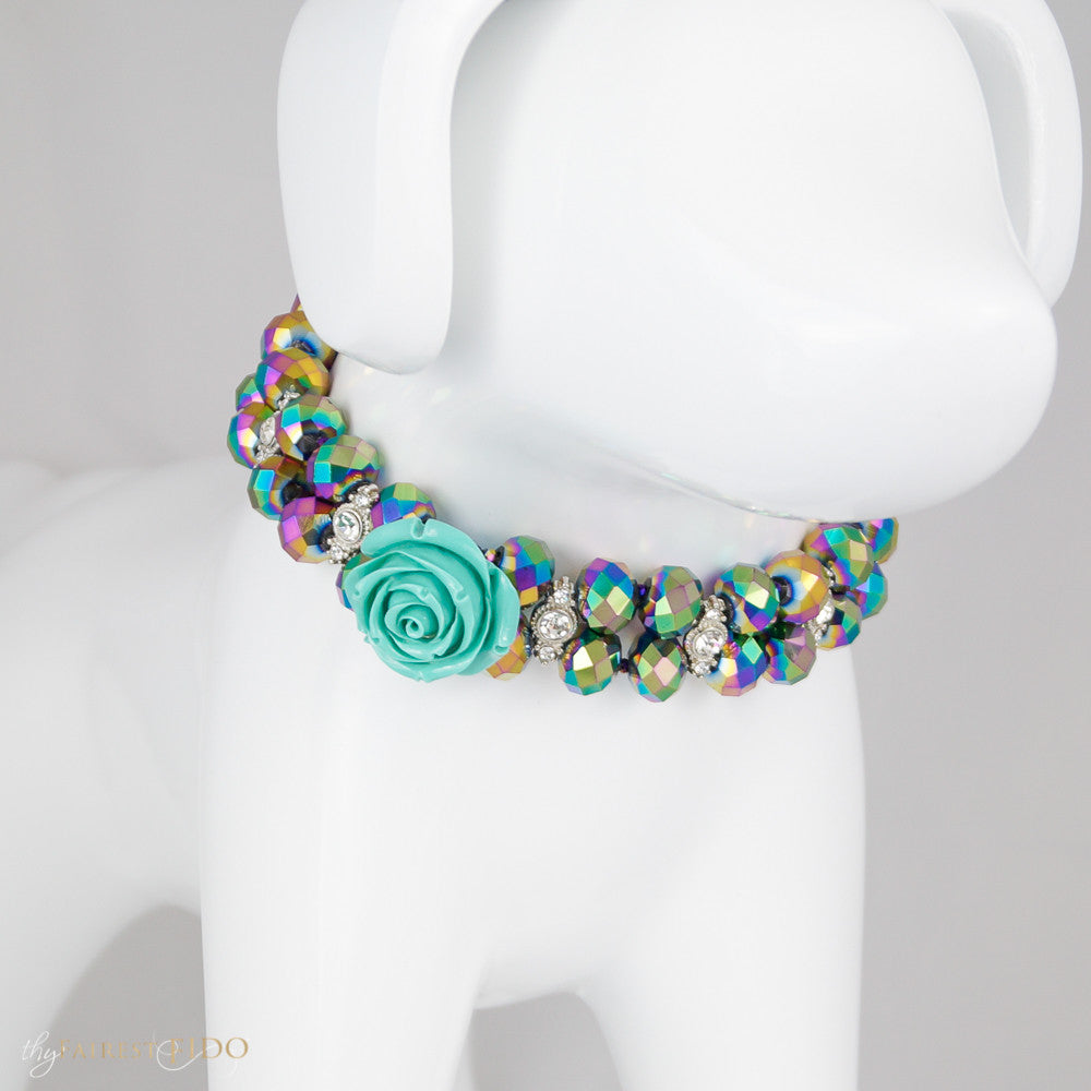 Majestic Metallic - Iridescent, Purple multi crystals woven with rhinestones and teal flower size 2