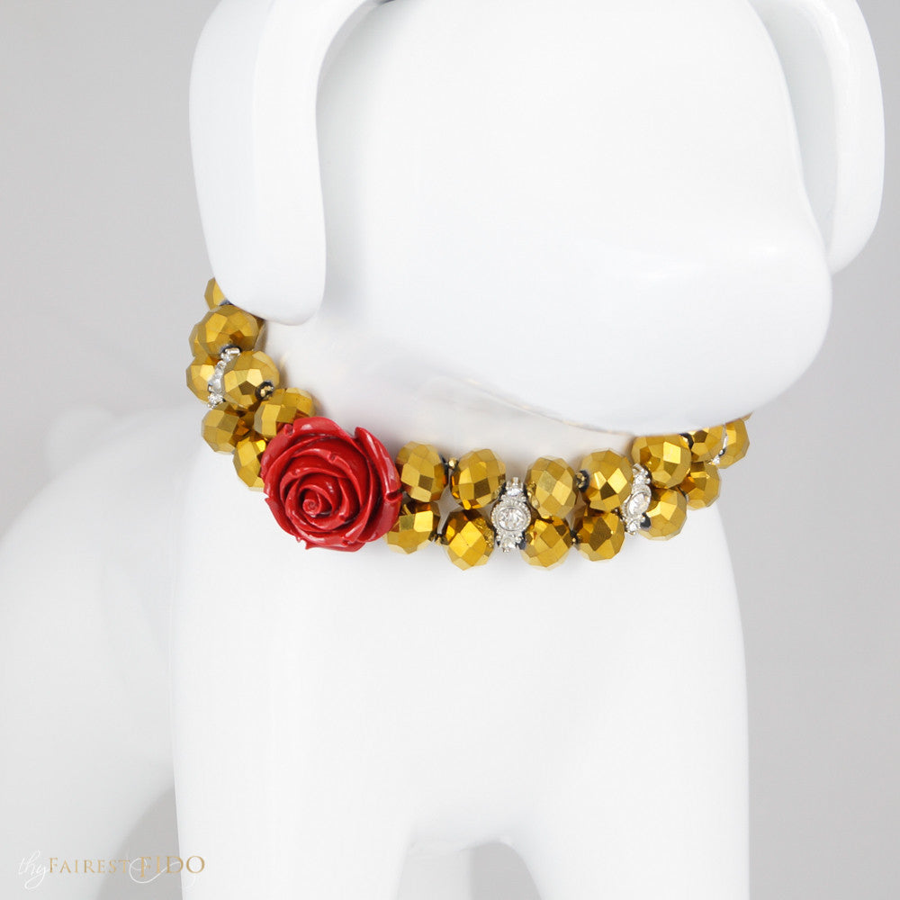 Majestic Metallic - Gold, Golden crystals woven with rhinestones and red focal flower size 2 front  view