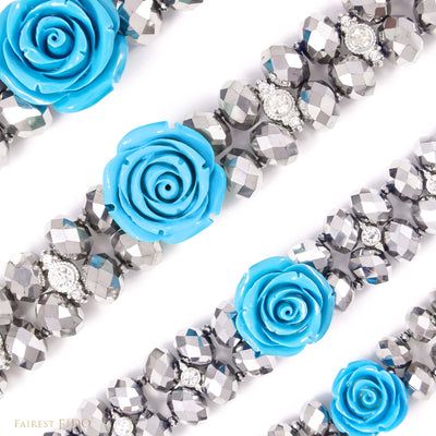 Majestic Metallic -Silver, crystals woven with rhinestones and blue flower size 0, 1, 2 and 3