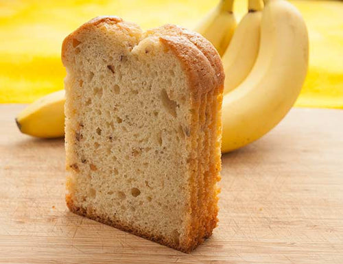 Moist banana bread standing on end