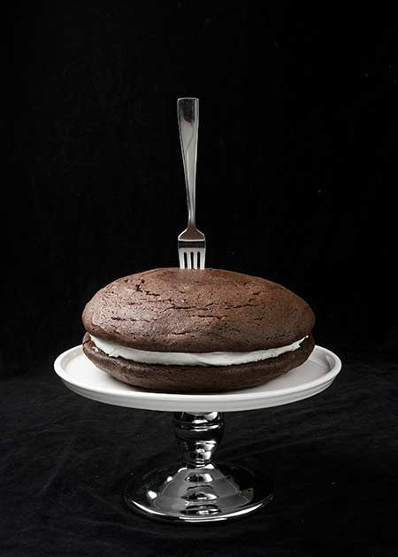 whoopie pie cake with a fork in it
