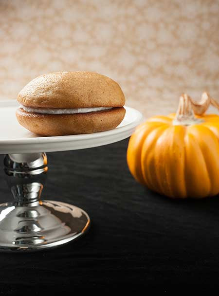 Pumpkin whoopie pie on a platter
