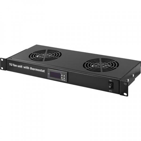 1U, 19 inch rackmount fan element with 2 fans with thermostat for IT Network Server Data Cabinet Enclosure Racks