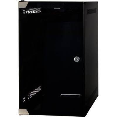 10 Inch 9U SOHO Rack Cabinet tempered glass door, black with lock, unassembled (WxDxH) 280 x 310 x 463mm