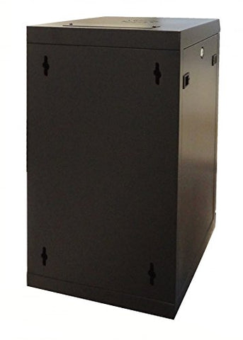 10 Inch 9U Wall Mount SOHO Rack with tempered glass door, black with lock, assembled (WxDxH) 370 x 450 x 501mm