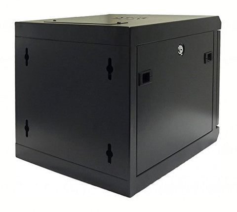 10 Inch 6U Wall Mount SOHO Rack with tempered glass door, black with lock, assembled (WxDxH) 370 x 450 x 368mm
