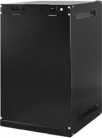 10 Inch 4U Wall Mount SOHO Rack with tempered glass door, black with lock, unassembled (WxDxH) 280 x 310 x 241mm