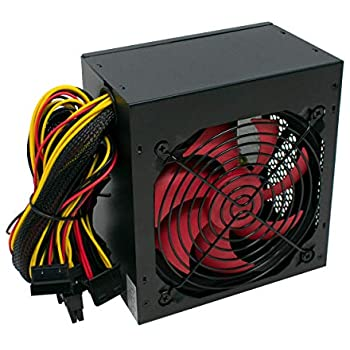 LMS Data 750W PC Power Supply Unit Quiet 12cm Red Fan PSU ATX 6-Pin PCI-E SATA