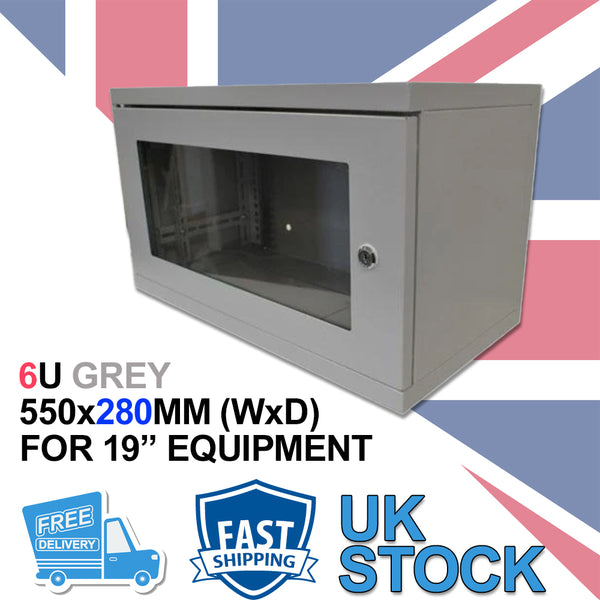 "6U 19"" 280MM Network Cabinet Data Comms Wall Rack for Patch Panel, Switch, PDU - Non Removable Sides"