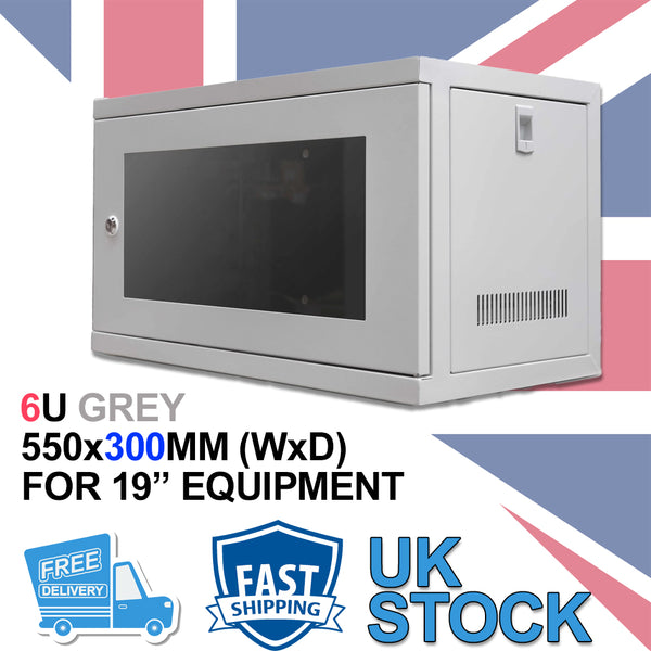 "6U 19"" 300MM Network Cabinet Data Comms Wall Rack for Patch Panel, Switch, PDU"