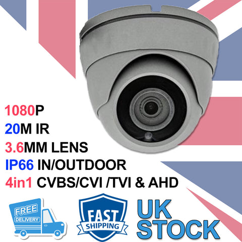 2.0MP 4in1 Grey Dome CCTV Camera - CVBS-CVI-TVI-AHD