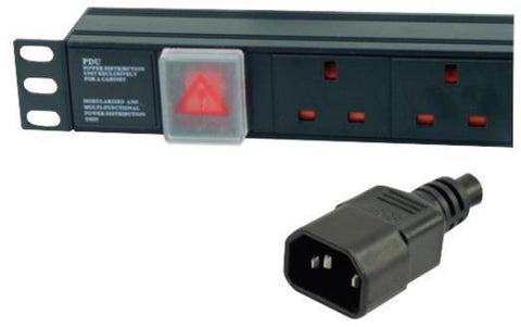 1U 6 Way Horizontal 10A switched PDU > IEC14 Plug