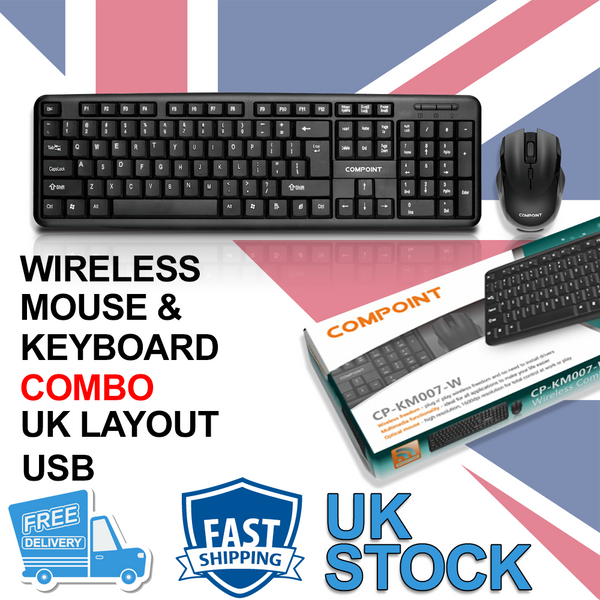 Compoint 2.4Ghz USB Wireless Keyboard And Mouse Combo Set For PC Laptop Smart TV UK