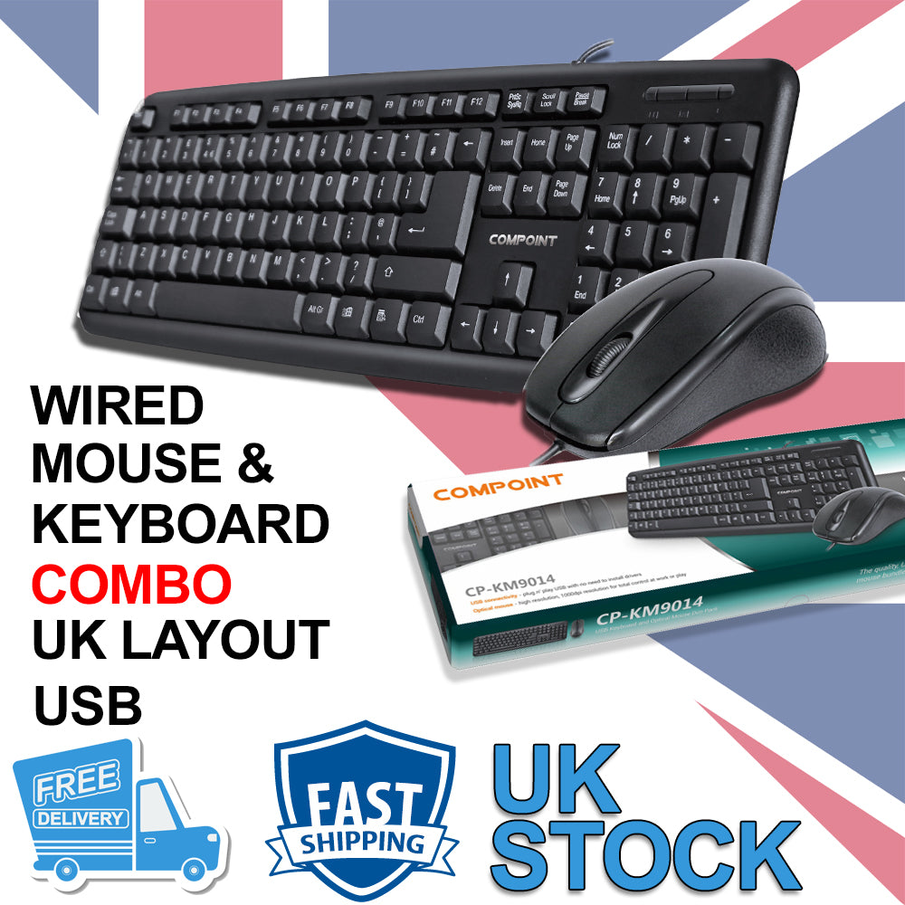 USB Keyboard and Mouse Combo Set Wired Black UK Retail Boxed Qwerty