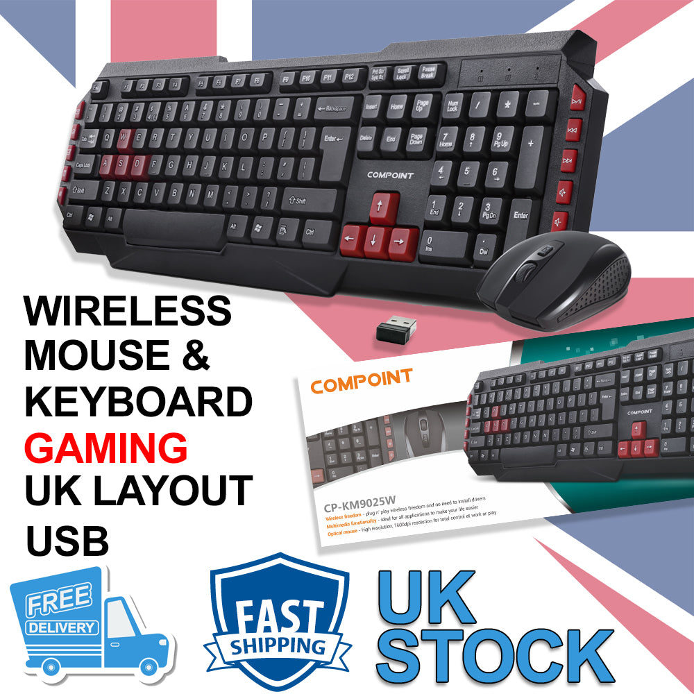 2.4Ghz Wireless Gaming Keyboard And Optical Mouse Set Combo Gaming UK