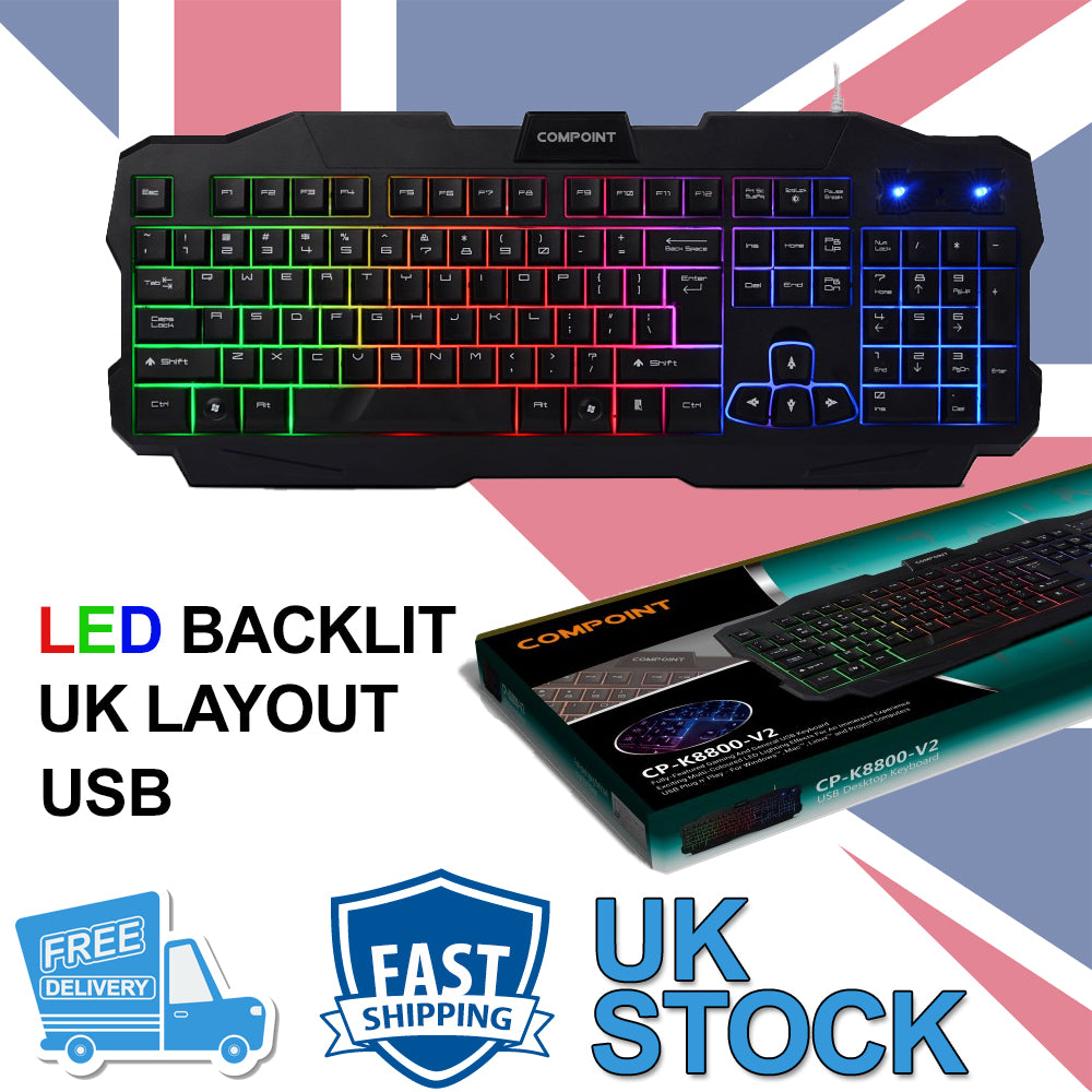 Gaming Keyboard Rainbow LED Wired USB for PC Laptop UK
