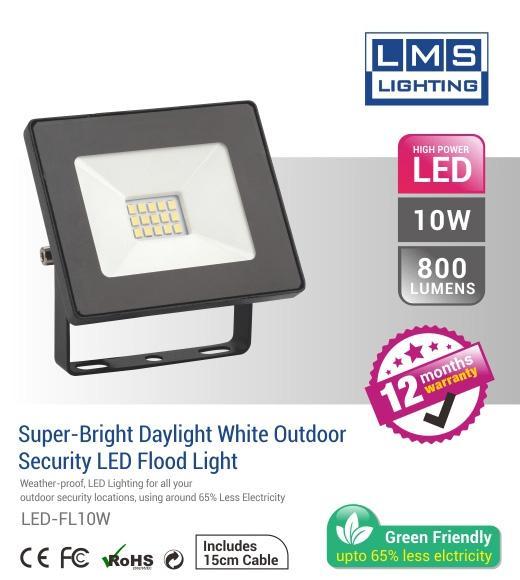 10W LED Flood Light - 800LM / Lumens (IP65) 2835