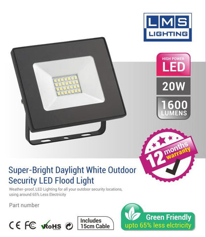 20W LED Flood Light - 1600LM / Lumens (IP65) 2835