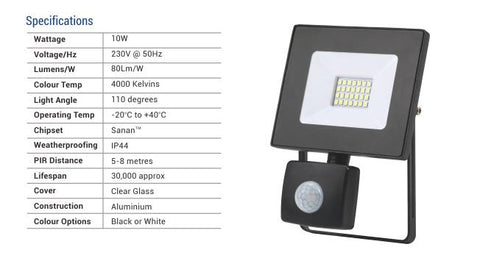 20W Led Flood Light with Sensor - 1600LM /  Lumens (IP44) 2835
