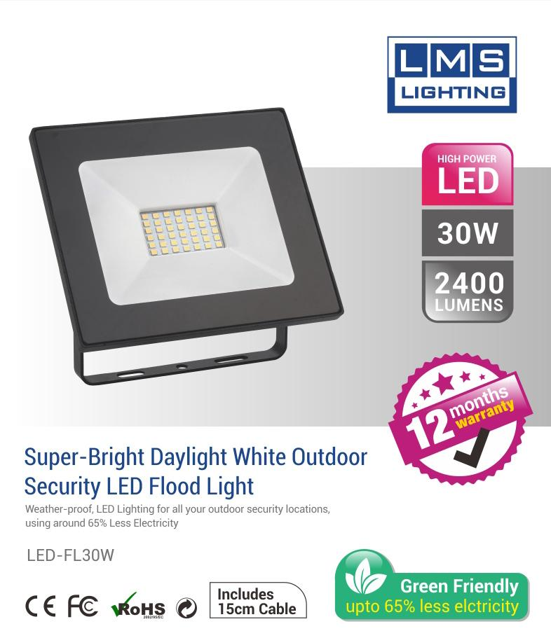 30W LED Flood Light - 2400LM / Lumens (IP65) 2835