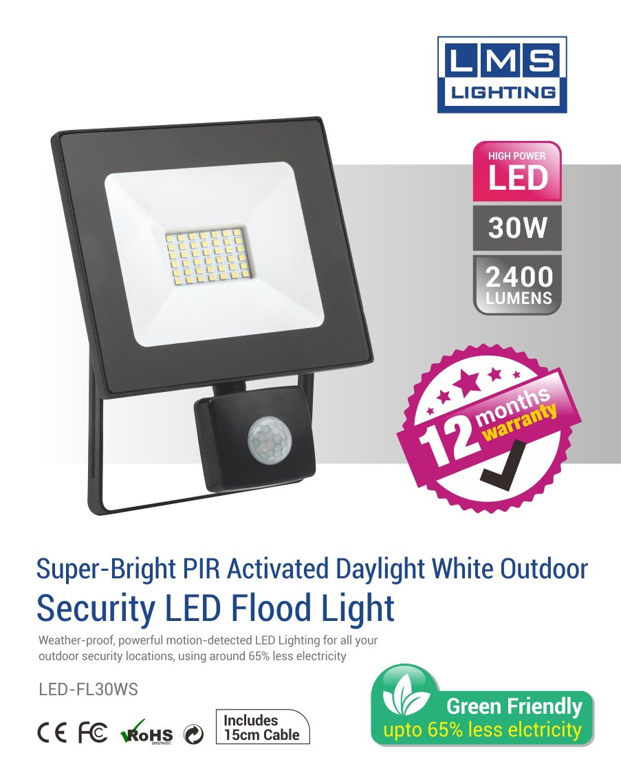 30W LED Flood Light with Sensor - 2400LM /  Lumens (IP44) 2835