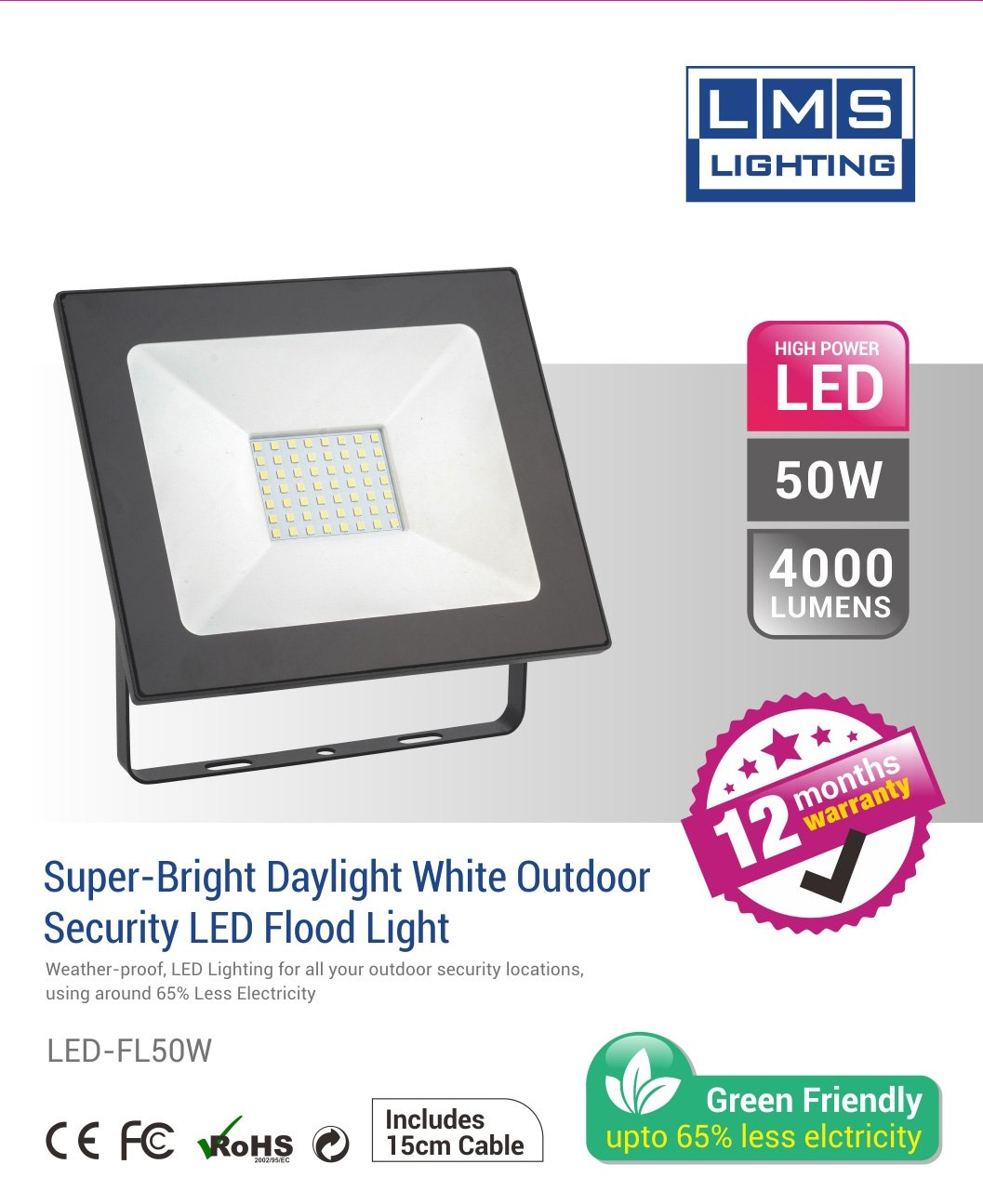 50W LED Flood Light - 4000LM / Lumens (IP65) 2835