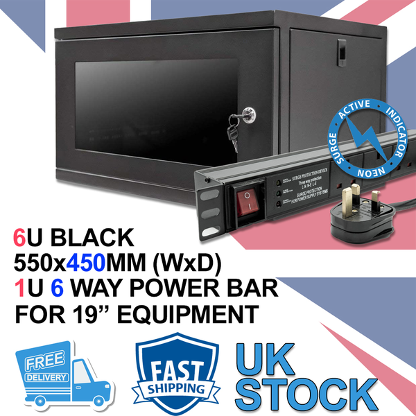 "6u 19"" 450mm Deep Black Wall Mounted Data Cabinet & 6 Way PDU UK Horizontal"