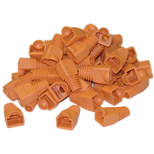RJ45 BOOTS - Orange - Bag of 100 - Rack Sellers