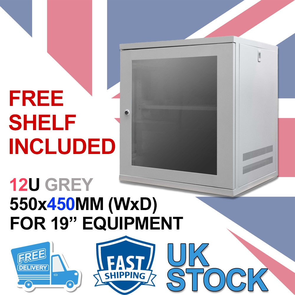 12U 19 inch Wall Mount N Series Network  Data Cabinet  Rack (WxDxH) 550x450x600mm - Grey