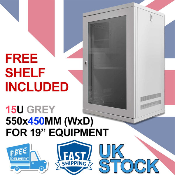 15u 450mm Deep Wall Cabinet (Grey) 15U 19 inch Wall Mount N Series Network Data Cabinet Rack (WxDxH) 550x450x720mm