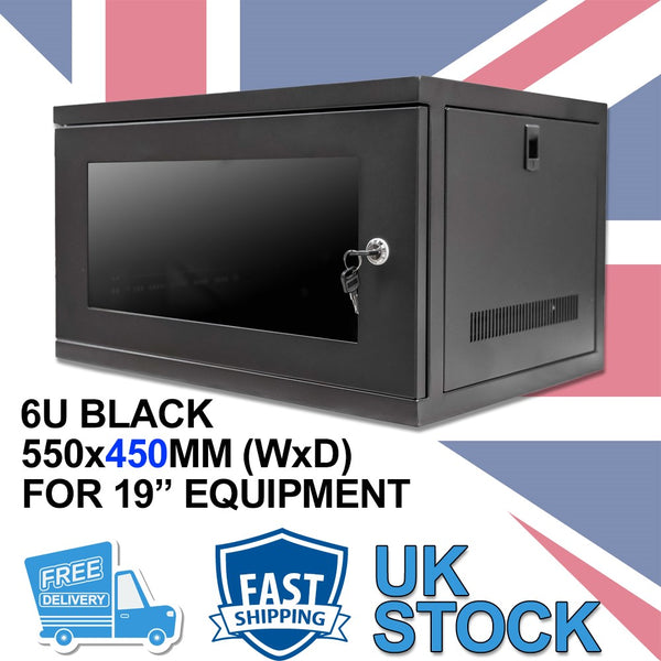 "6U 450mm 19"" Data Rack Wall Cabinet - Black"