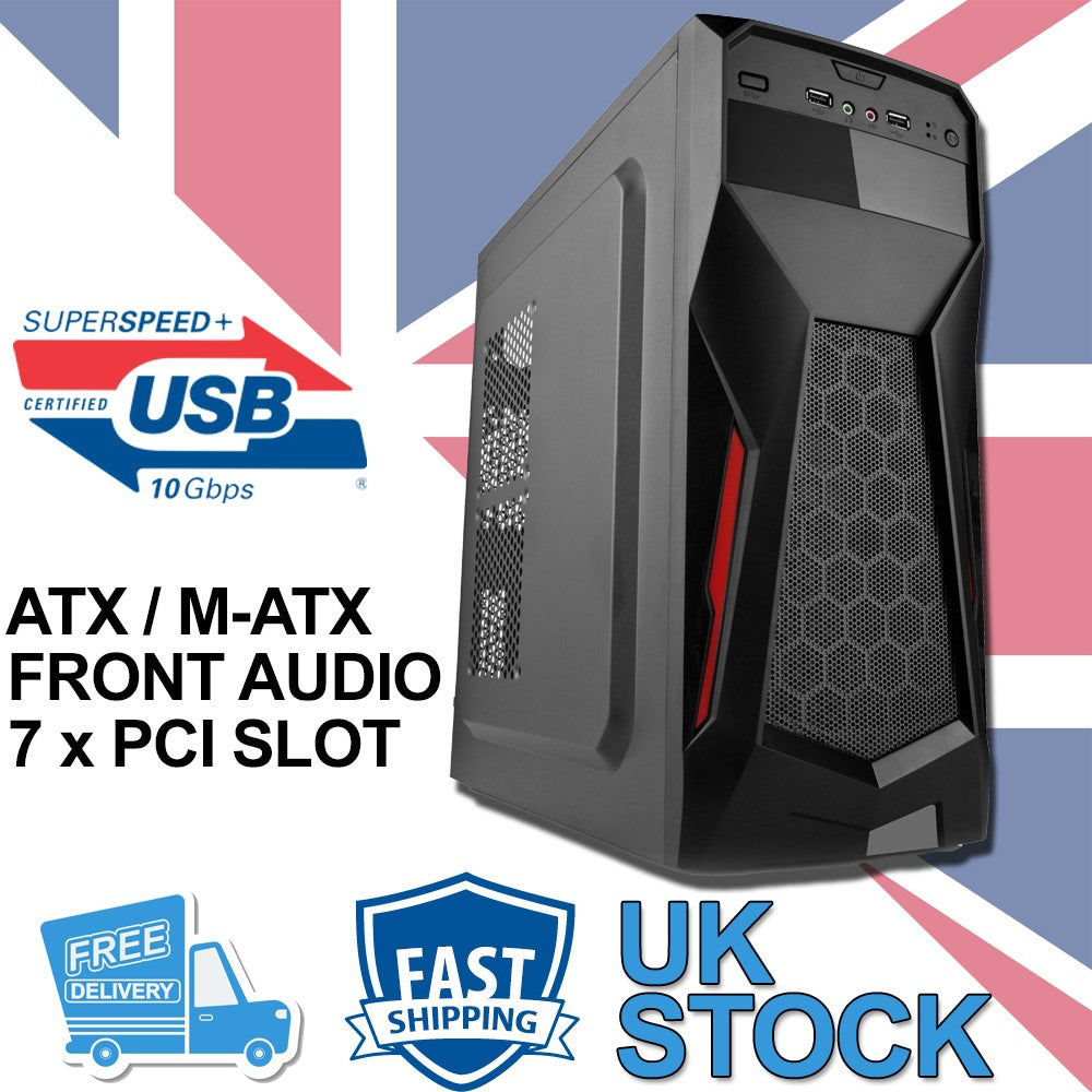 Gaming ATX / M-ATX Tower Computer PC Case - Black