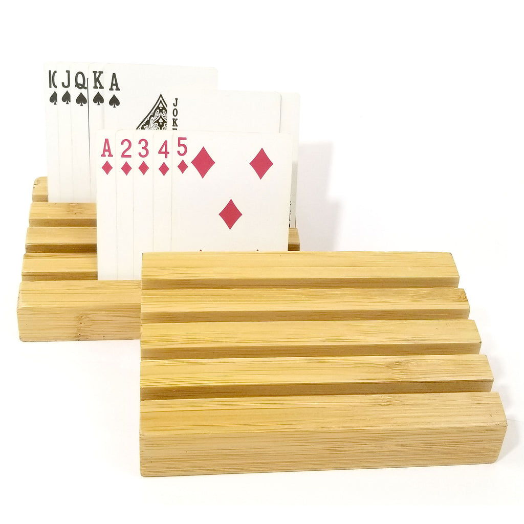 Cardrax Hands Free Universal Playing Card Holders Set Of 2 Wooden Racks