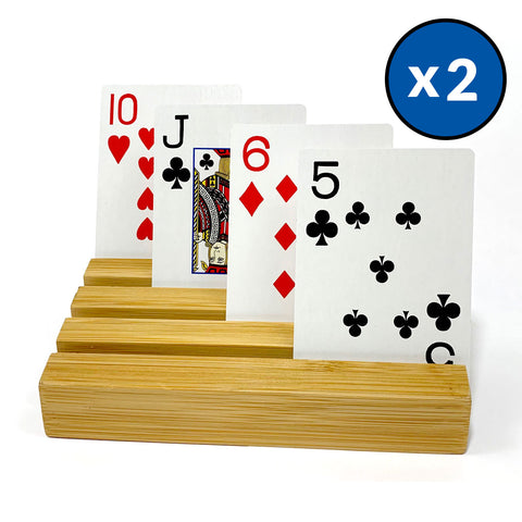 Bamboo Playing Card Holders (Set of 2 Wooden Card Racks)