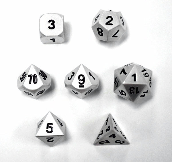 DragonSteel Solid Metal Polyhedral D&D Dice Set with Case