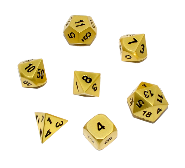 Cthulhu's Gold Solid Metal Polyhedral D&D Dice Set with Case